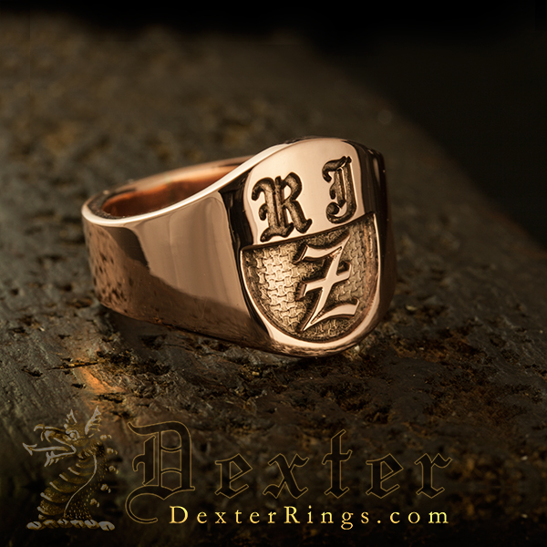 Old English Monogram Cigar Band Ring Part Elevated Engraved