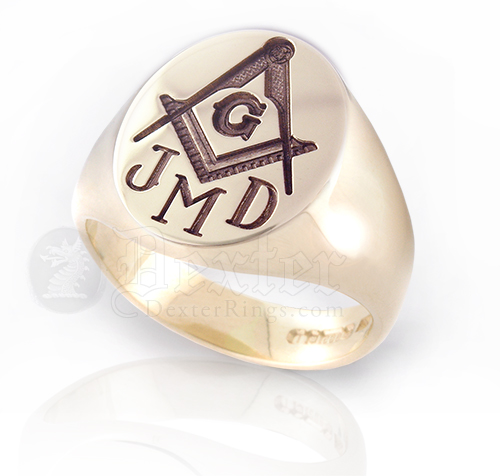 Monogramed Oval Masonic Signet Ring - Roman / Traditional