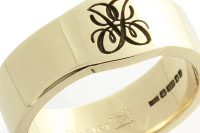 Monogramed Cigar Band Ring - Cipher / Traditional
