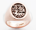 Monogramed Oval Signet Ring - Old English / Elevated
