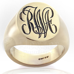 Deep for Show Example: Monogramed Classic Oval Signet Ring - Script / Traditional