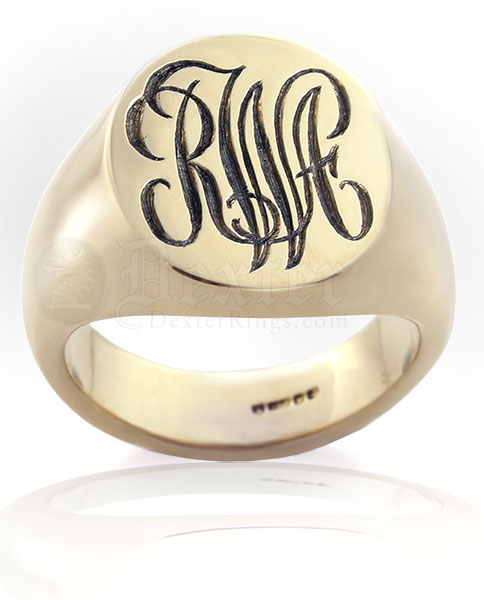 Deep For Show Example Monogramed Classic Oval Signet Ring Script Traditional