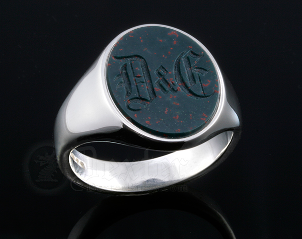 Monogramed Bloodstone Signet Ring - Old English / Traditional
