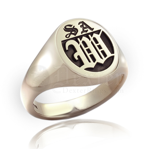 Monogramed Classic Oval Signet Ring - Old English / Elevated
