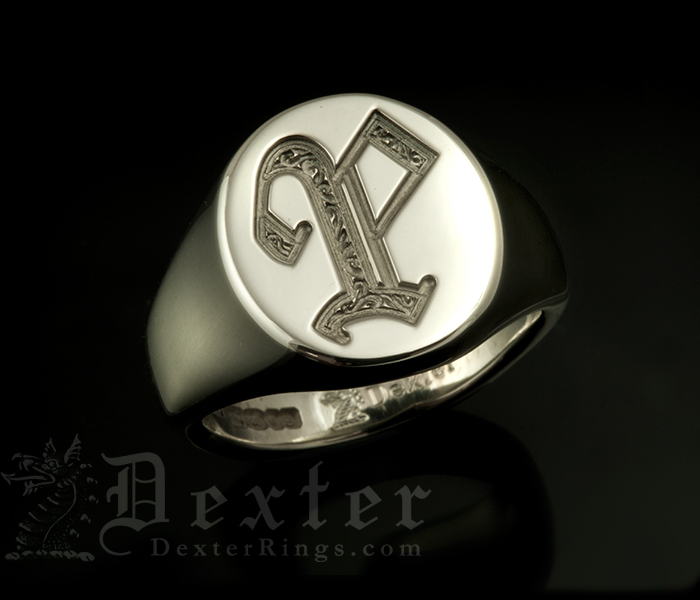 Monogramed Classic Oval Signet Ring - Old English Letter P Detail ONLY on Single Letter
