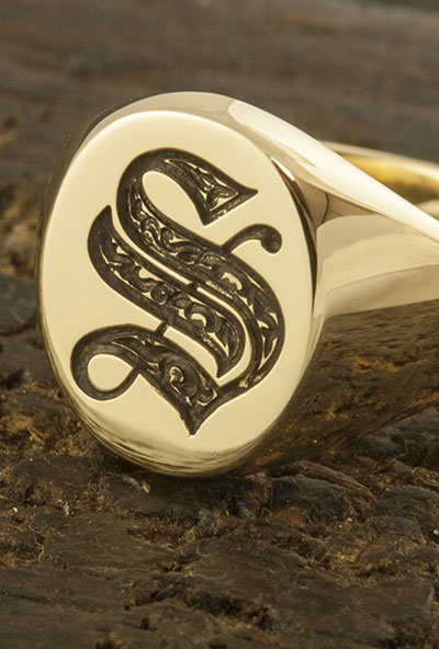 Monogramed Classic Oval Signet Ring - Old English Detail ONLY on Single Letter