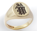 Monogramed Classic Oval Signet Ring - Old English / Traditional