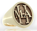 Monogramed Classic Oval Signet Ring - Roman / Elevated