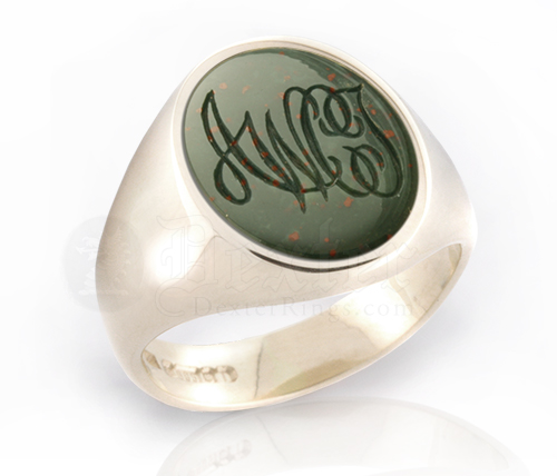 Monogramed Bloodstone Signet Ring - Script / Traditional