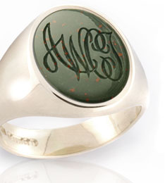 Monogramed Bloodstione Signet Ring - Monogram / Traditional