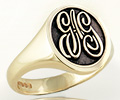 Monogramed Scalloped Oval Signet Ring - Script / Elevated