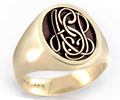 Monogramed Classic Oval Signet Ring - Script / Elevated