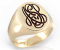 Monogramed Classic Oval Signet Ring - Script / Traditional