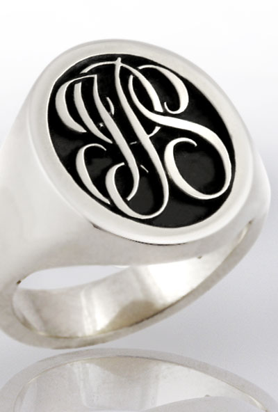 Monogramed Cigar Band Ring - Script / Traditional
