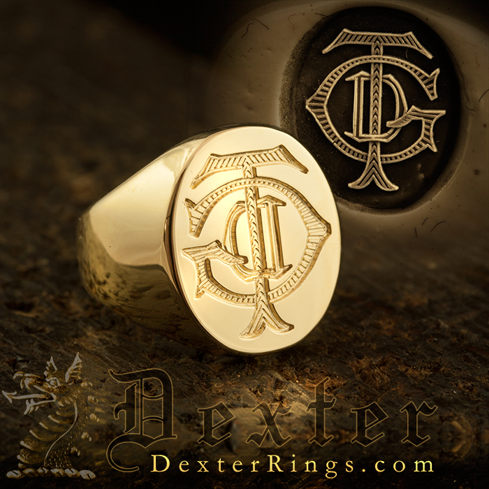 Victorian Monogram Ring Available seal or show engraved