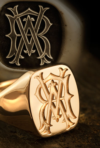 Classic Cushion Signet Ring - Victorian Monogram / Traditional Seal