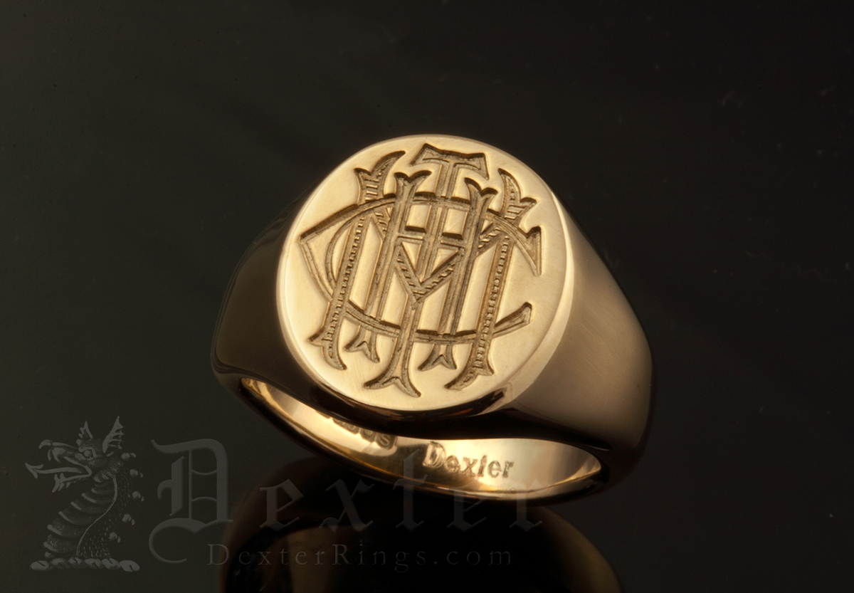 Signet Ring with Bespoke Victorian Style Monogram