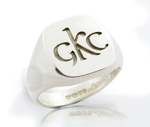 Monogramed Cushion Signet Ring - Celtic / Traditional