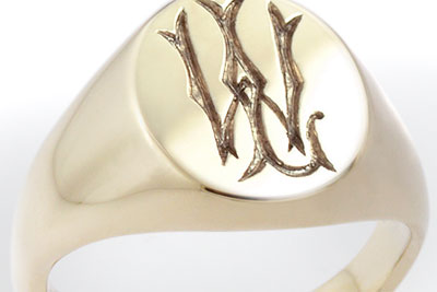 Monogramed Classic Oval Signet Ring - Victorian / Traditional