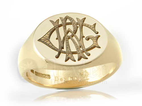 Monogramed Reverse Oval Signet Ring - Victorian / Traditional