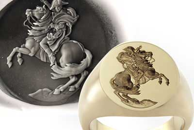 Napoleon Bonaparte Crossing the Alps Signet Ring