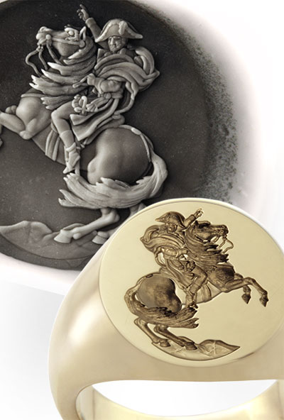 Signet Ring Engraved From Painting: 'Napoleon Crossing the Alps'