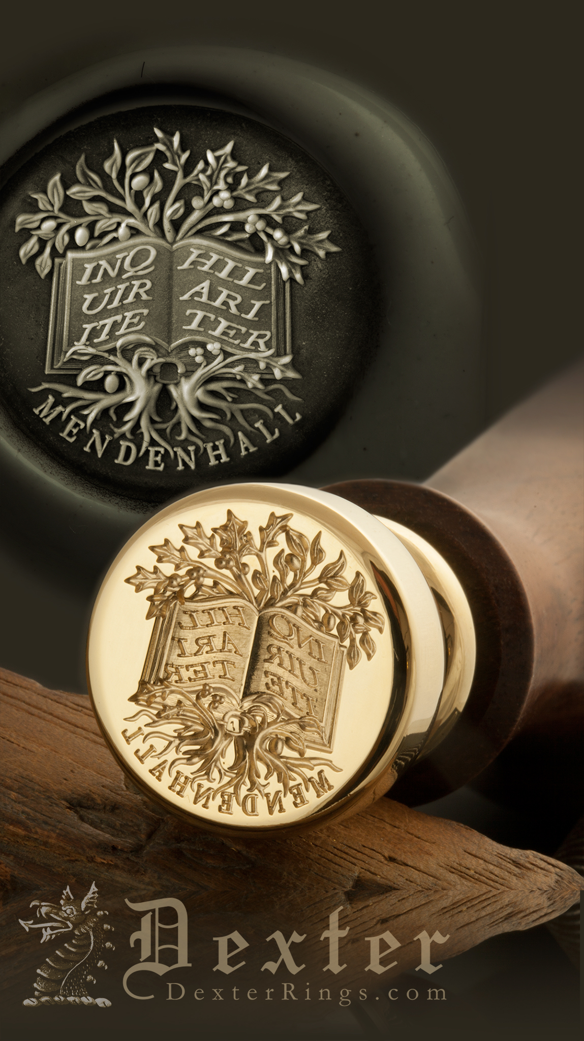 Desk Seal engraved with an ornate book and entwined trees