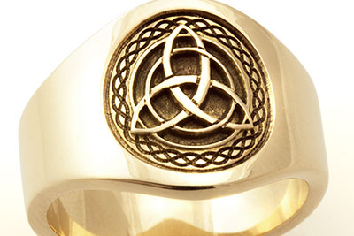 Celtic Knot Trinity Cigar Band Ring