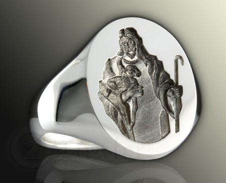 Jesus Holding a Lamb Ring