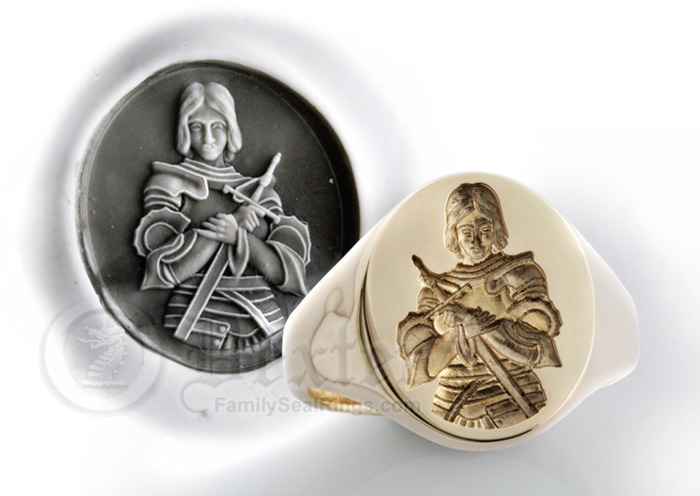 Ring Engraved With Joan of Arc - Jeanne d'Arc Ancient Reproduction