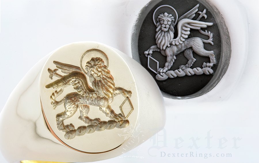Signet Ring Showing Lion of st. Mark Heraldic Crest Holding Lozenge