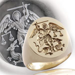 Saint Michael the Archangel Signet Ring - 17th Century Depiction