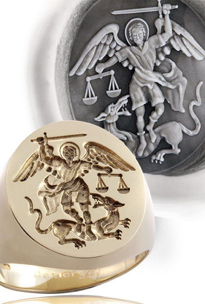 Signet Ring Engraved with Saint Michael the Archangel
