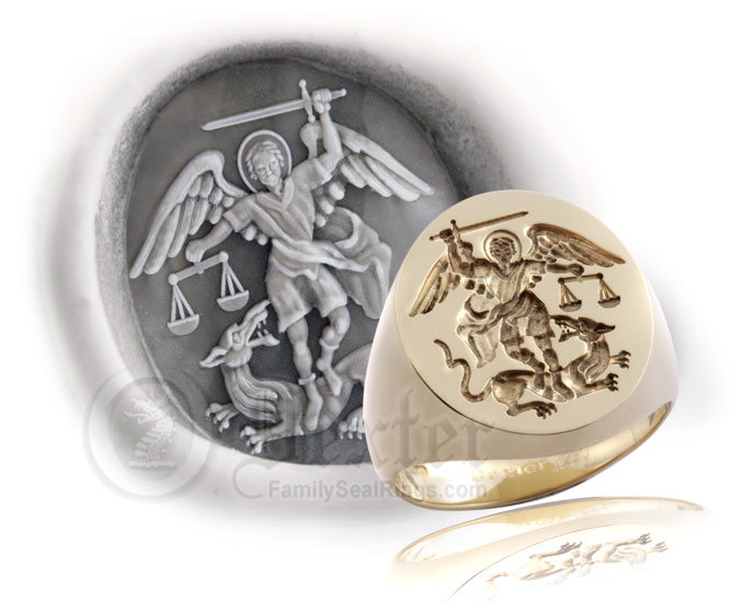 Saint Michael the Archangel Signet Ring