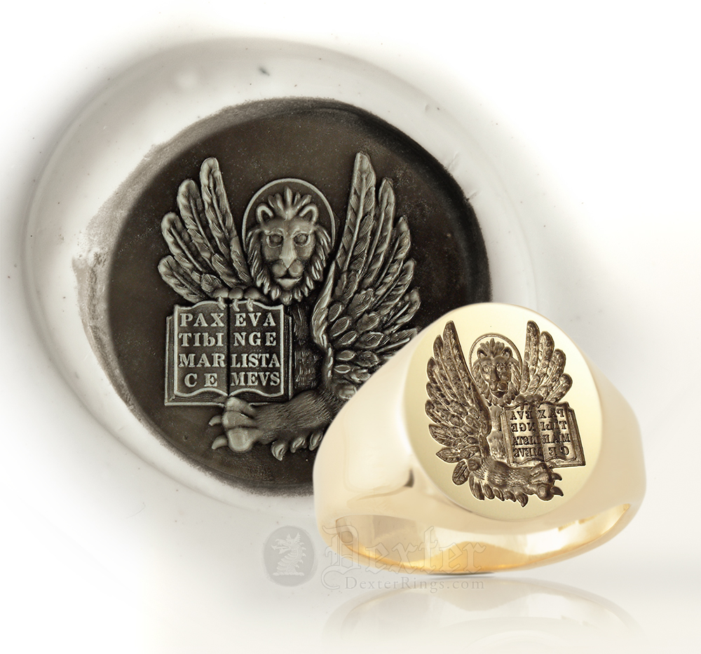 St. Mark Lion Gold Signet Ring