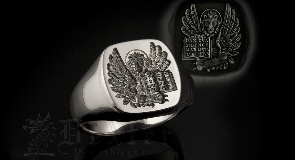 Lion of St Mark Engraved onto a Titainium Signet Ring