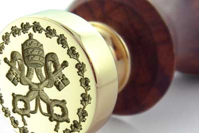 The Vatican Seal Engraved On Our Brass & Rosewood Desk Seal