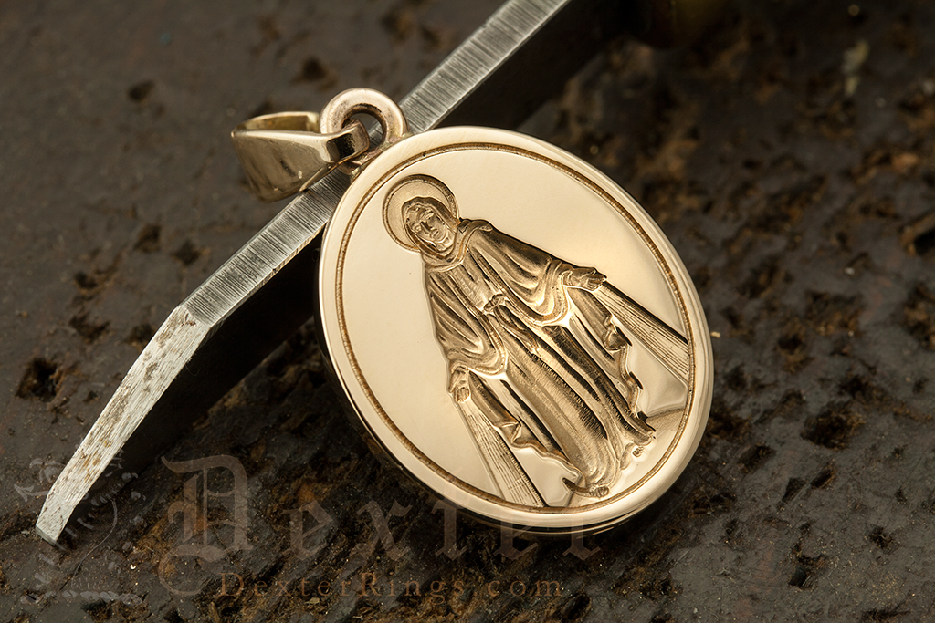 Custom Bespoke Pendant Engraved With Virgin Mary - Miraculous Medal Our Lady of Graces