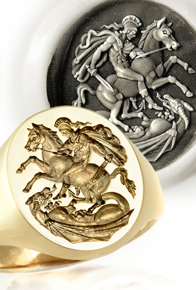 St. George Slaying Dragon Ring - Replica of the 18c Greek Style original by Benedetto Pistrucci