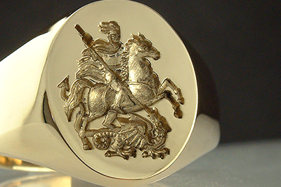 St. George Slaying The Dragon Signet Ring - Depiction from Military Badge
