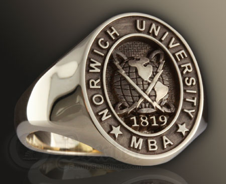 Elevated Engraved Example University Ring