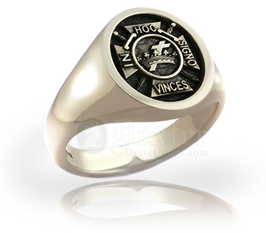 Knights Templar Emblem (M10) Ring Engraved in Relief