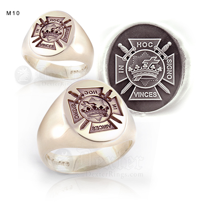 Knights Templar Emblem (In Hoc Signo Vinces) Signet Ring