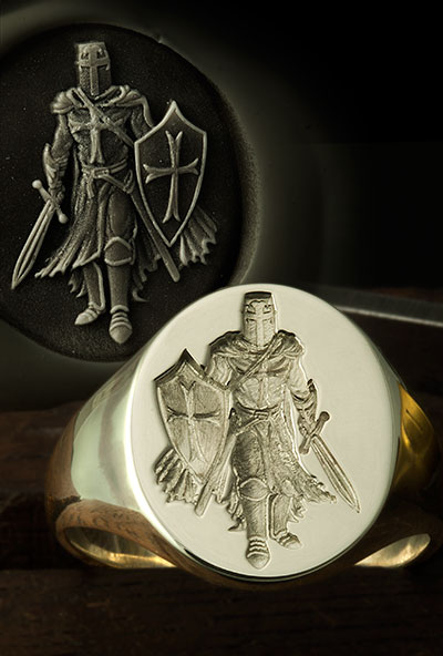 Templar Knight with Sword Signet Ring