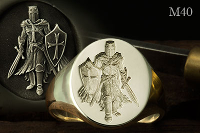 Knight Templar With Sword & Shield (M40) Signet Ring Seal Engraved in White Gold
