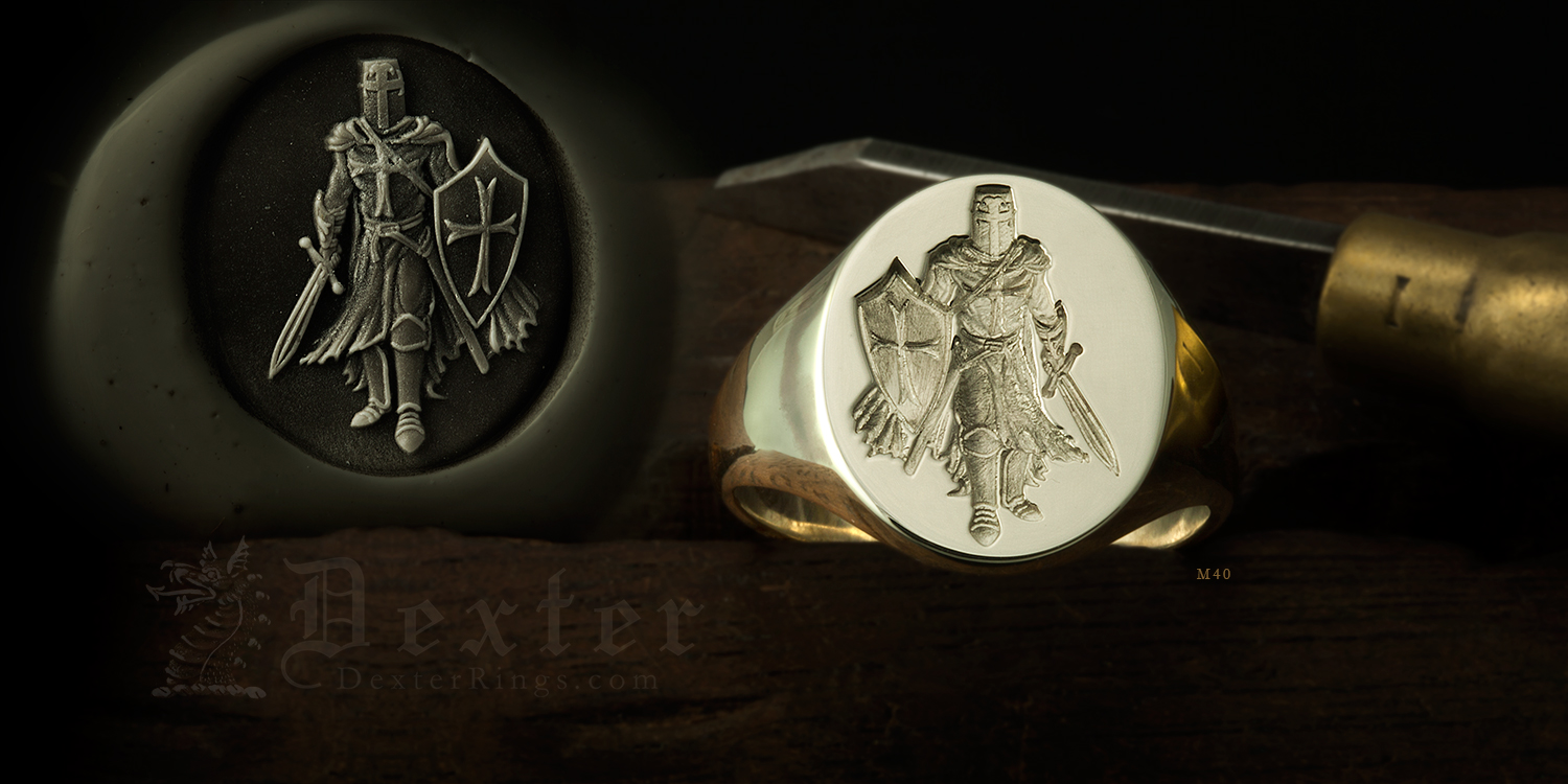 Knights Templar Signet Ring Seal Engraved in White Gold