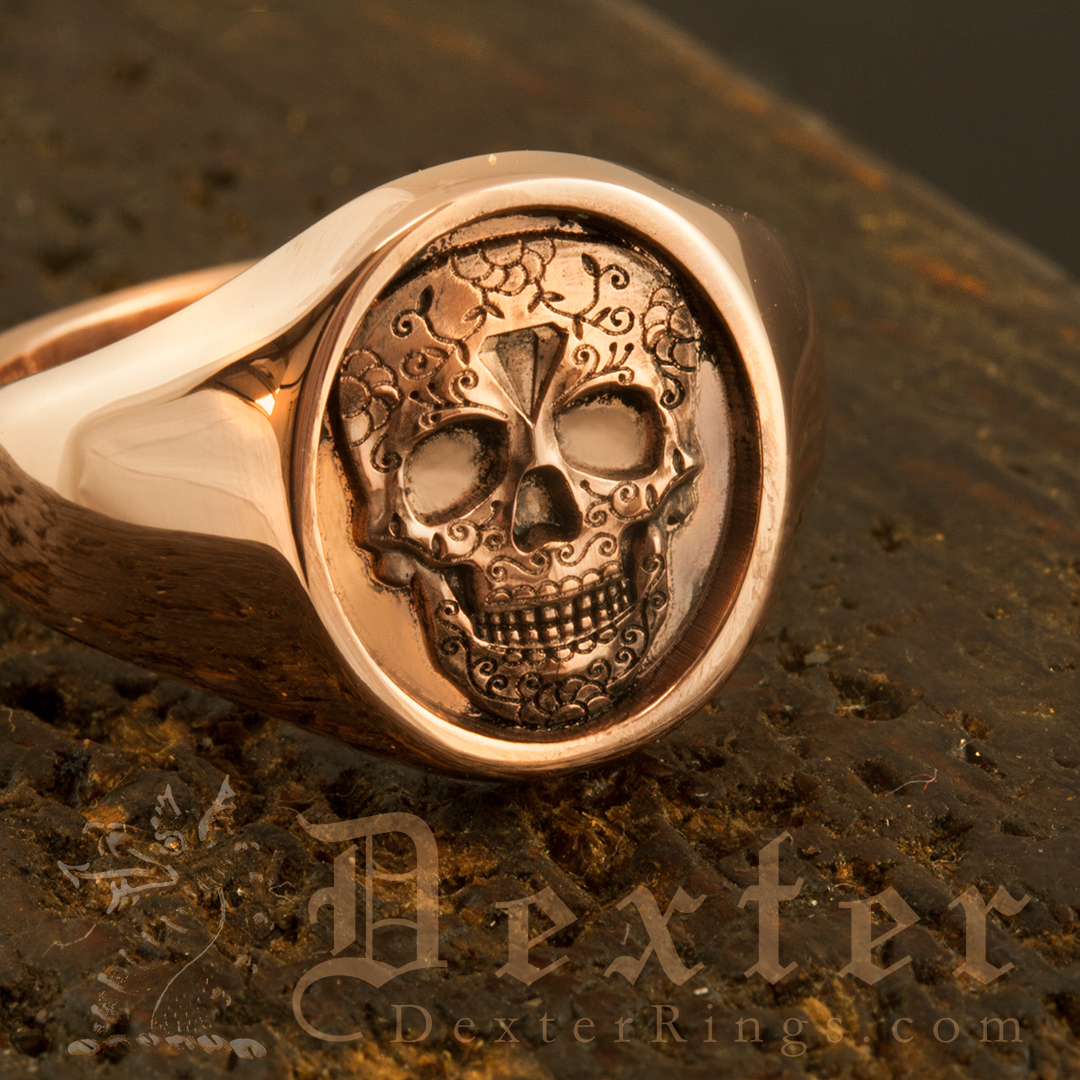 Day of the Dead Festival Mexican Skull Red Gold Signet Ring