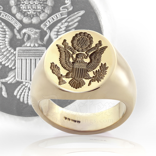 Signet Ring Engraved With Great Seal of The USA
