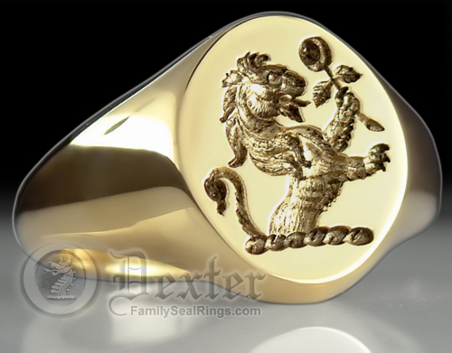 Lion Holding Rose crested Signet Ring