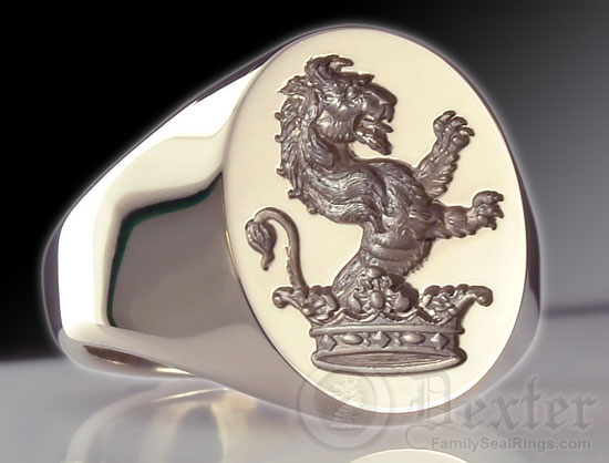 Lion Out of Coronet Crest Ring